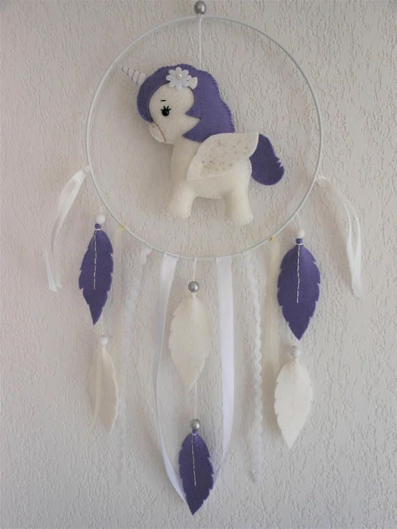 Dream catcher white and purple Unicorn felt birthday girl, Christmas gift baby nursery decor, Kids Christmas kids baby, christening – Aurélie Mahé Lyséa