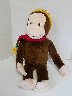 """Curious George Monkey with Hat Scarf for Macy's 24"""" Big Stuffed Animal Plush"""