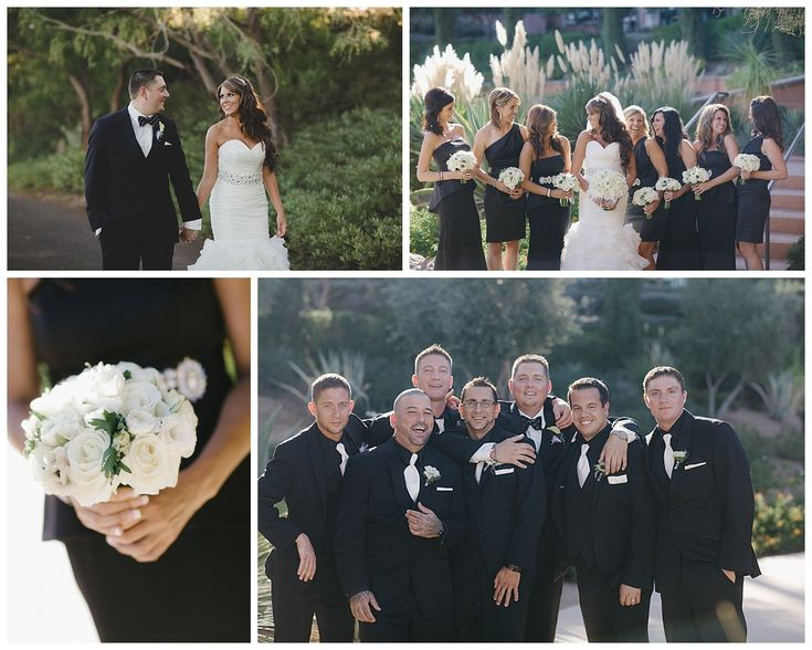 Las Vegas Wedding Planner All White Bouquet Feather Black Bridesmaids Dressed