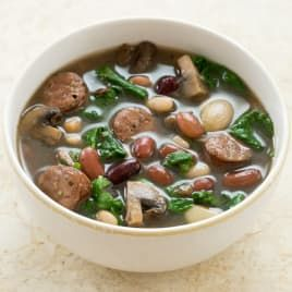 Slow-Cooker 15-Bean Soup with Chicken Sausage and Spinach