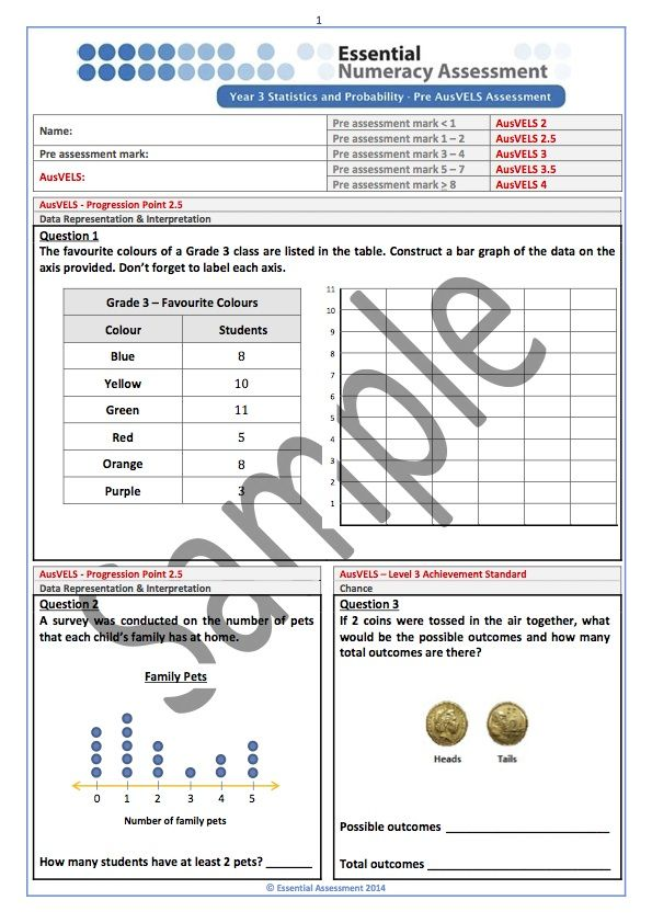 Year 3 Statistics and Probability - Pre AusVELS Assessment 2.5-4 - Sample