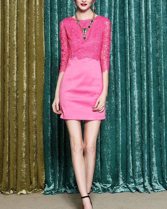 Pink Lace Sheath Dress Half Sleeve Lace Dress by DressStory, $124.99
