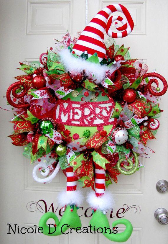 christmas wreath burlap wreath holiday wreath by nicoledcreations
