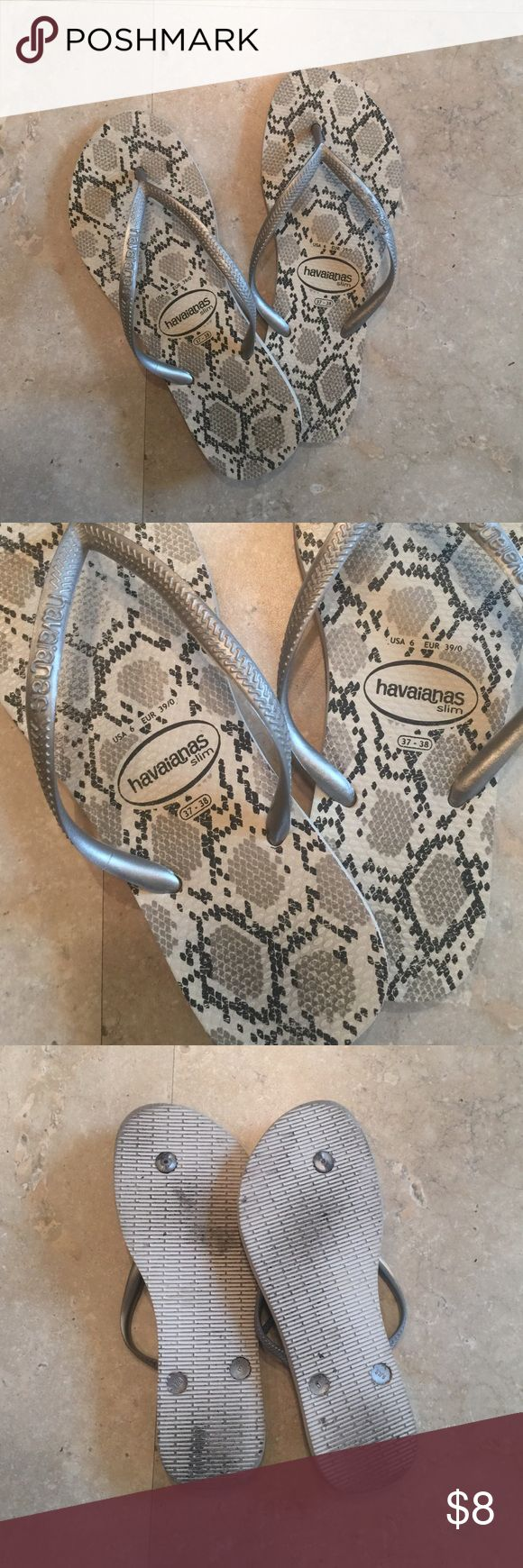 Havaianas Slim Flip Flops Snake print flip flops. Worn but still in totally usable condition. Size 37-38 Brazilian. 39/40 Eur. Havaianas Shoes Sandals