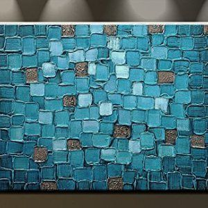 Oil-Painting-Abstract-Modern-Contemporary-Art-on-Canvas-Wall-Decor-Blue-Squares-0