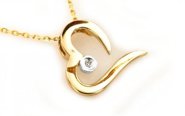 """Zlatý exkluzívny náhrdelník s diamantom ,,Heart"""" 14 K zlato"""