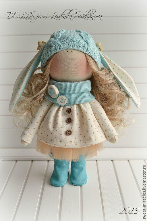Купить Кукла-малыш Бирюзовый - голубой, бежевый, куколка, кукла ручной работы, кукла