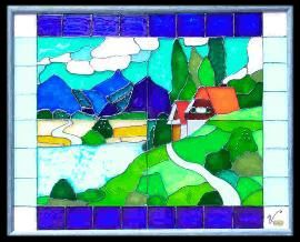 Orig. glass picture, handmade from the artist Sabine Vöpel-Kramer by her own label VIVLIANNA-ART according to Feng Shui to bring good luck. www.gluecksdings.de