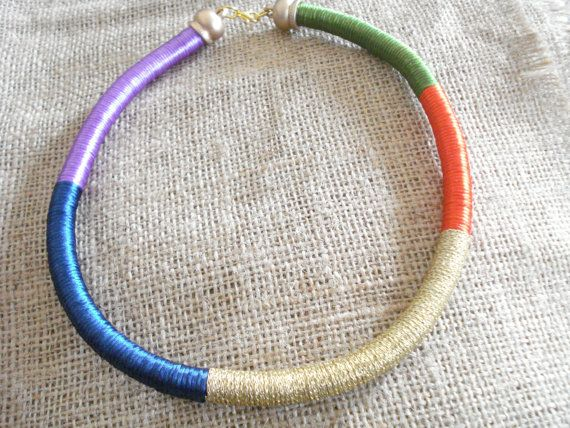 Statement multicolored wrap necklace.
