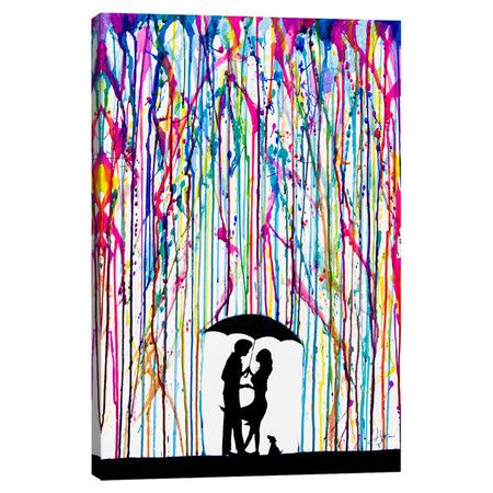 Add an artful touch above your living room or master suite with this lovely canvas print, depicting a charming scene in the rain.  P...