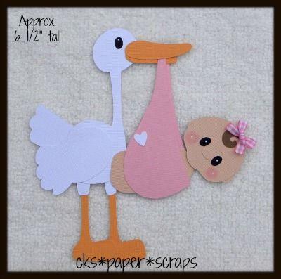 Stork Newborn Baby Girl KID Scrapbook Paper Piecing
