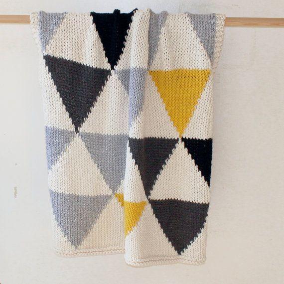 Geometric Blanket Knitting Pattern : Modern Geometric Triangle Throw or Blanket