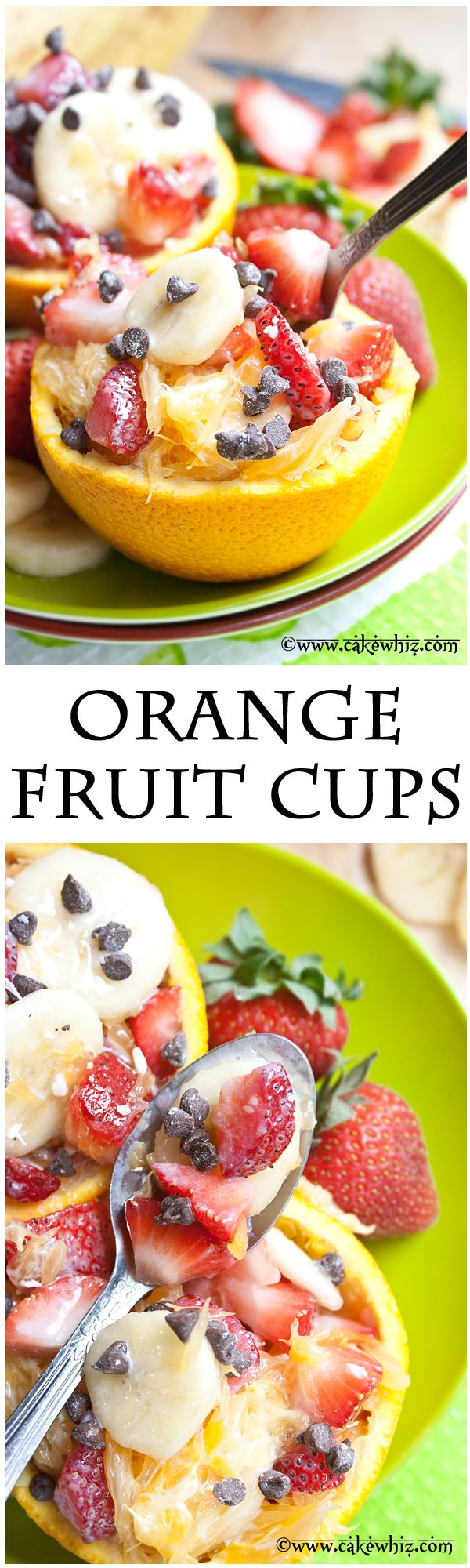 ORANGE FRUIT CUPS... refreshingly fresh and healthy treat that's ready in about 5 minutes! Even kids love these colorful little cups. From cakewhiz.com