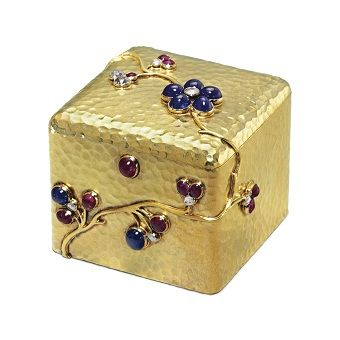 A Jeweled Gold Box  By Fabergé, with the workmaster's mark of August Holmström, St. Petersburg, circa 1890  Estimate: $40,000-60,000