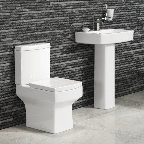 Square Design Modern Close Coupled Toilet and Pedestal Basin Set - soak.com