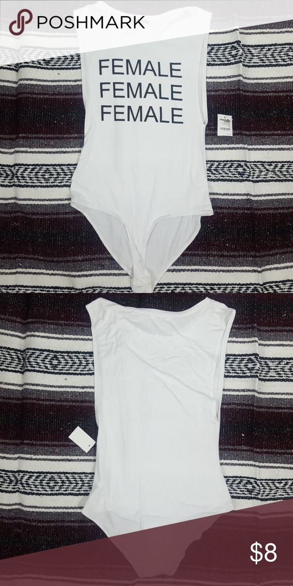 Charlotte Russe Sexy White Female Bodysuit NWT Charlotte Russe Sexy White Sleeveless deep arm wholes Bodysuit with Female Graphic Sz L. No rips stains or tears. Charlotte Russe Tops