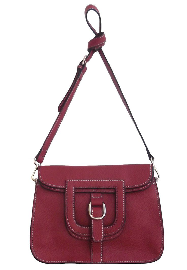 Burgundy Colour Tote Bag with Metal Buckle Detail