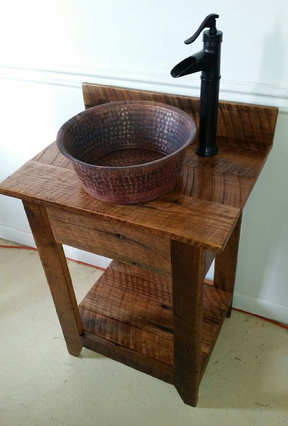 Nautical Whitewashed Barn Wood Vanity W Copper Vessel Sink And