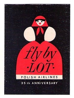 """1950'S POLAND """"FLY BY LOT"""" POLISH AIRLINES LUGGAGE LABEL - 35TH ANNIVERSARY"""