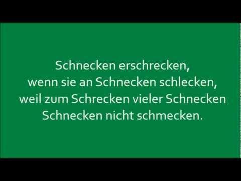 Deutsche Zungenbrecher - German tongue twisters: Schnecken erschrecken