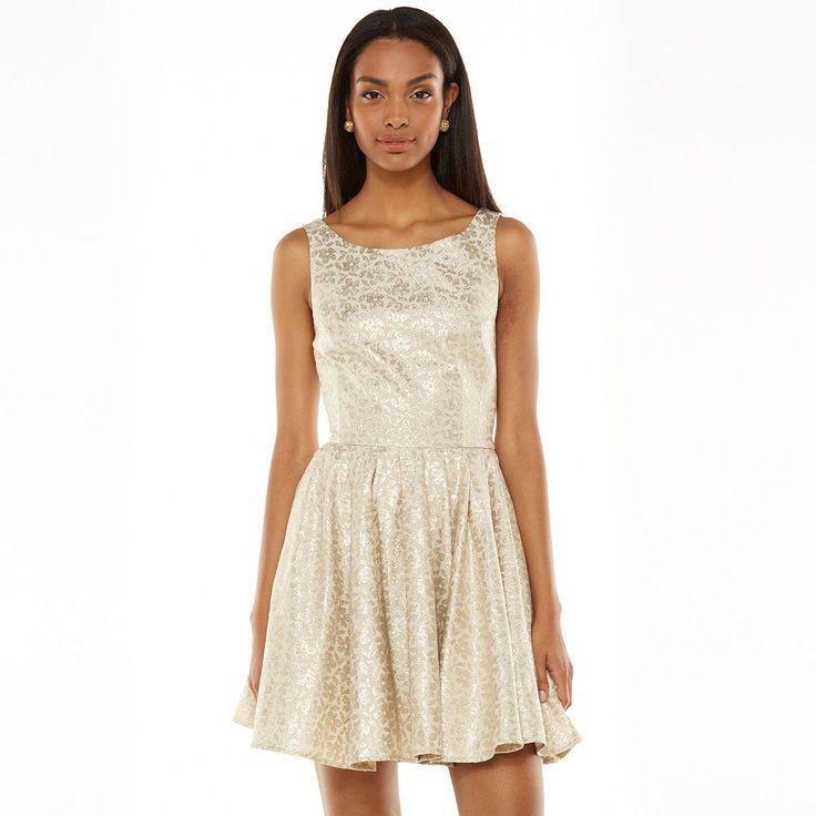 LC Lauren Conrad Floral Lurex Fit & Flare Dress