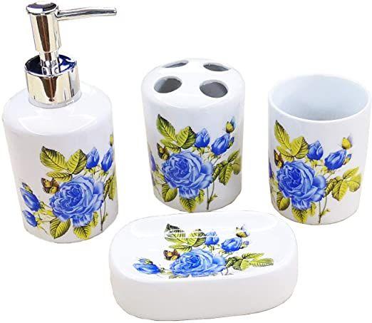 Rose Create White Ceramic Flowers Bathroom Accessory Set Liquid Soap Or Lotion Dispenser Pump Toot In 2020 Lotion Dispenser Bathroom Accessories Sets Ceramic Flowers