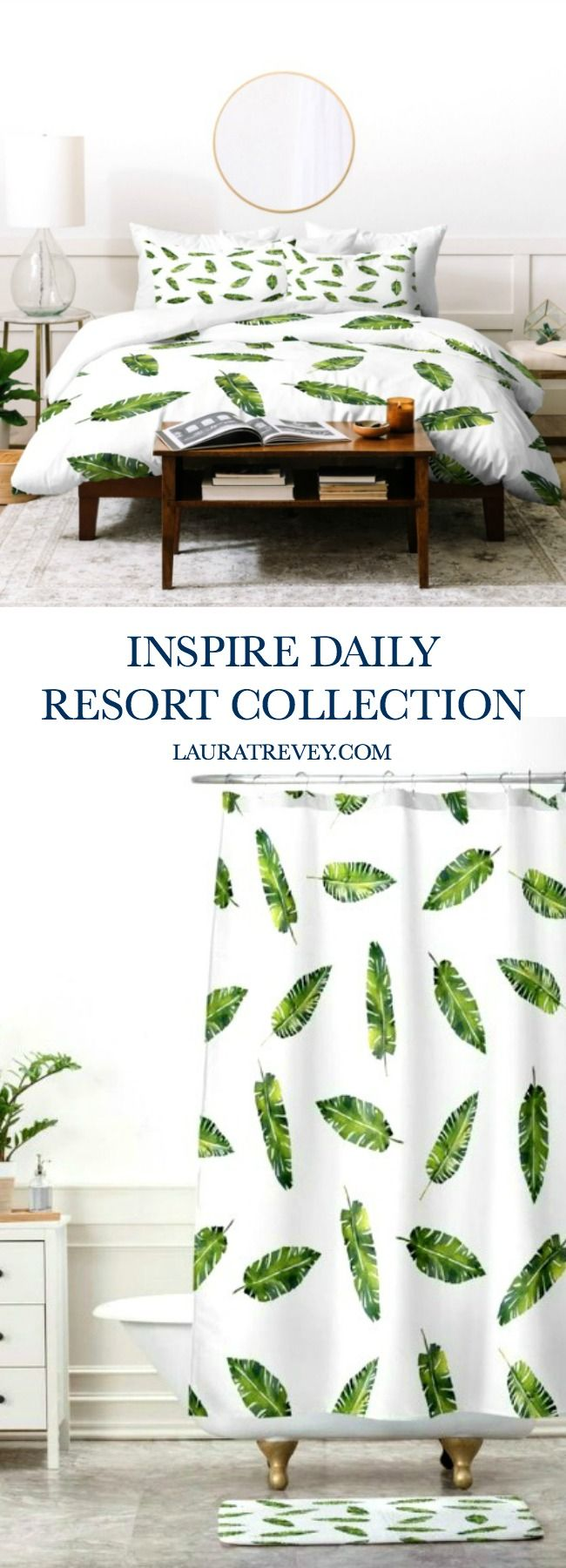 Shop the Inspire Daily Collection in a refreshing sage green leaf print. Create your resort inspired experience at home.