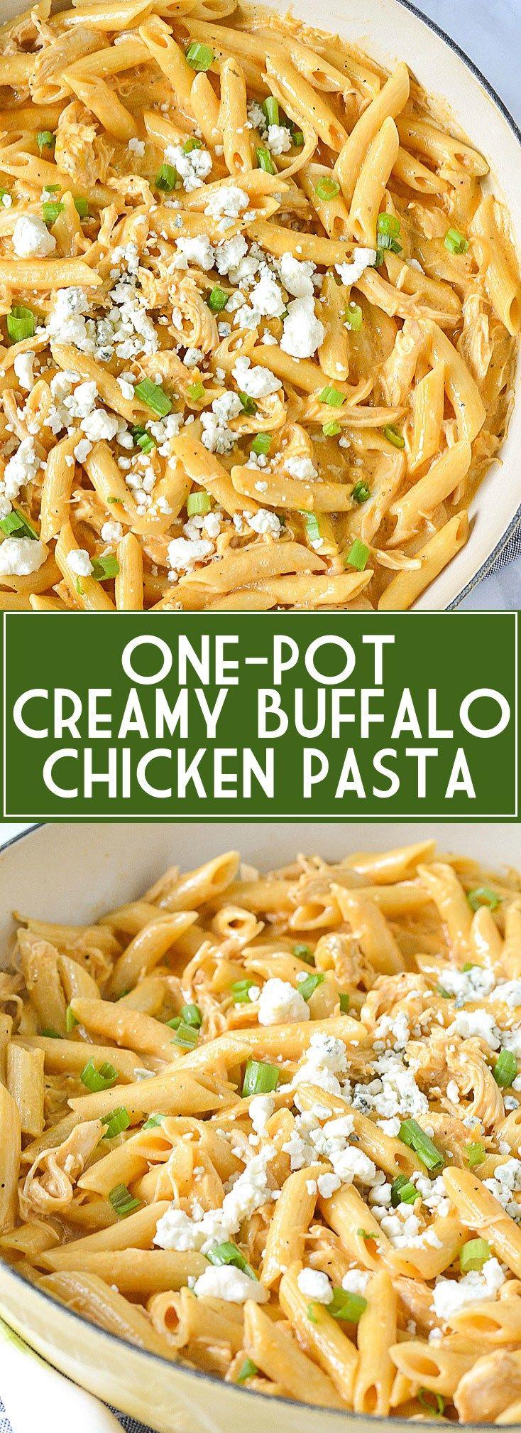 One-Pot Creamy Buffalo Chicken Pasta   www.motherthyme.com