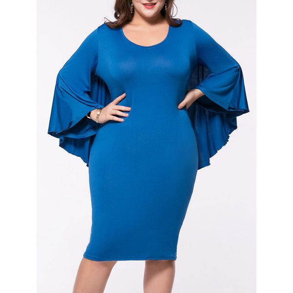 Cape Sleeve Solid Round Neck Plus Size Bodycon Dress ($24) ❤ liked on Polyvore featuring dresses, plus size day dresses, long sleeve dress, long bodycon dress, women plus size dresses and plus size bodycon dresses