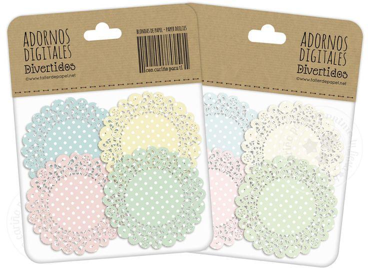 Blondas de Papel Digital Lunares Pastel para por ImprimeTuFiesta