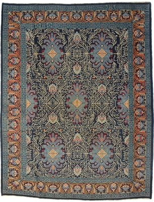 7 X 9 Persian Kashan Wool Rug 6279 With Very Unique Blue Shades In Geometric Designs From Exclusive Oriental Rugs Collection