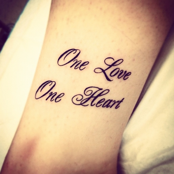 my tattoo one love one heart bob marley ink