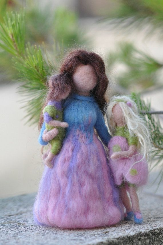 Needle felted Waldorf-Mother and two children- standing doll-soft sculpture--needle felt by Daria Lvovsky-Made to order