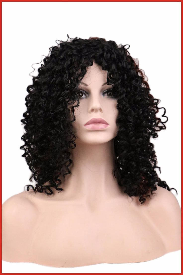 "QQXCAIW Ladies Curly Afro Wig Party Black 20"" Long Synthetic Hair Wigs for Black Women"