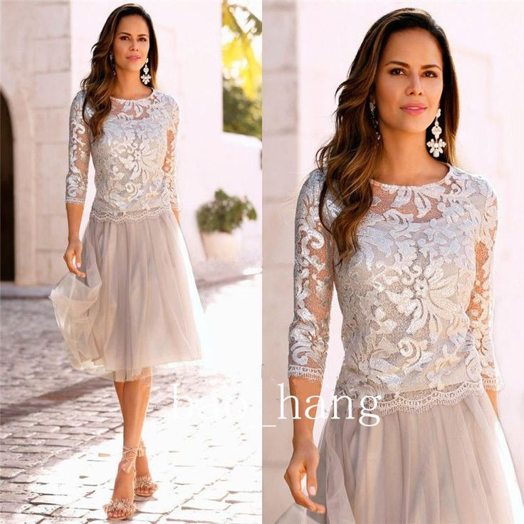 Pink Mother of the Bride Dresses Lace Sequins Keen Length Prom Dress Gown Custom #Dress