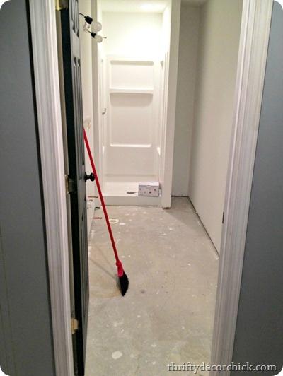 basement bathroom floor install