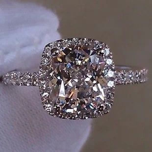 Luxury 2 carat Cushion Cut Simulated Diamond Engagement Rings For Women silver 925,Halo Style Engagement Ring diamond supply $89.00