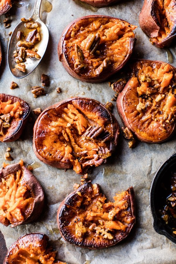 Crispy Roasted Sweet Potatoes with Bourbon Maple Butter.