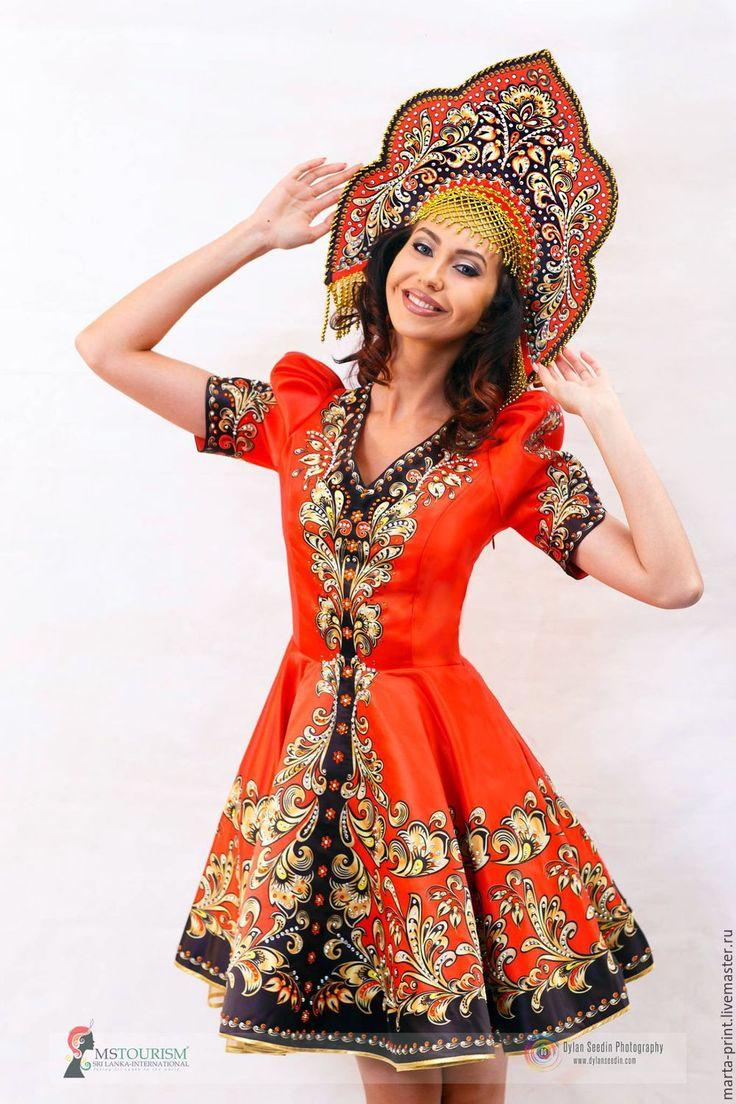 Купить Русская красавица - ярко-красный, орнамент, русская красавица, русские узоры, русский костюм