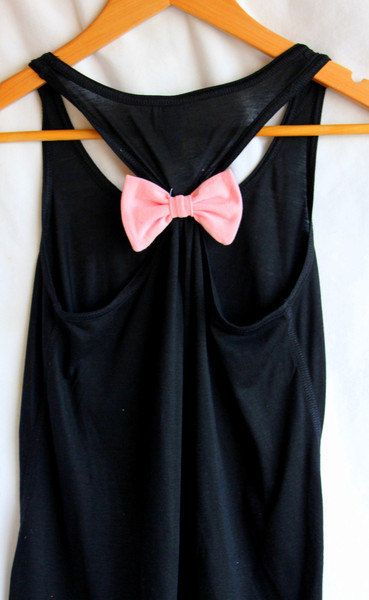 Plain Flowy Black Tank with Pink Bow