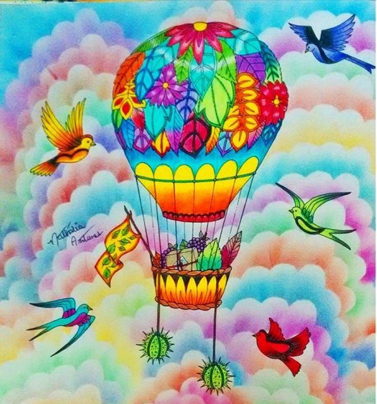Balão por Nathália Antunes #inspirationalcoloringpages #coloringbooks #livrosdecolorir #jardimsecreto #secretgarden #florestaencantada #enchantedforest #reinoanimal #animalkingdom #johannabasford #adultcoloring #milliemarotta
