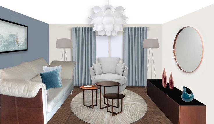 Proposta de decoração para sala de estar azul romântico.