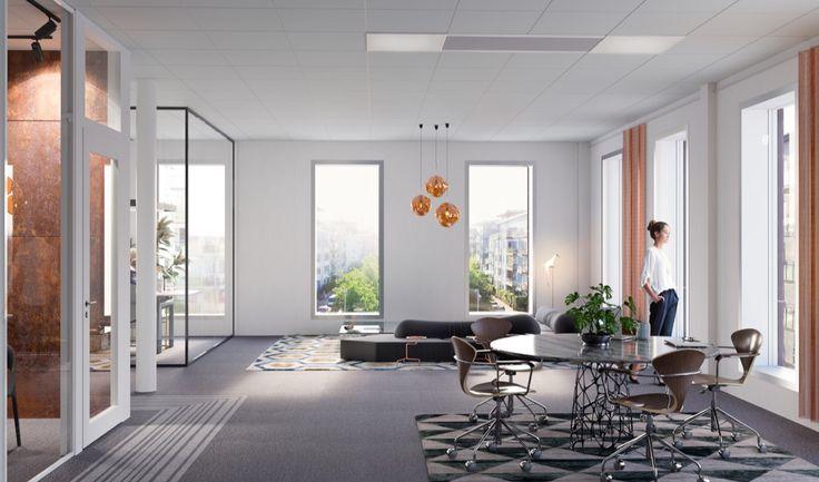 Office, Hammarbysjöstad, Hammarbyterassen, Stockholm Interior design, Scandinavian design, 3D visualisation, render, archviz, 3Ds Max, modern design, styling