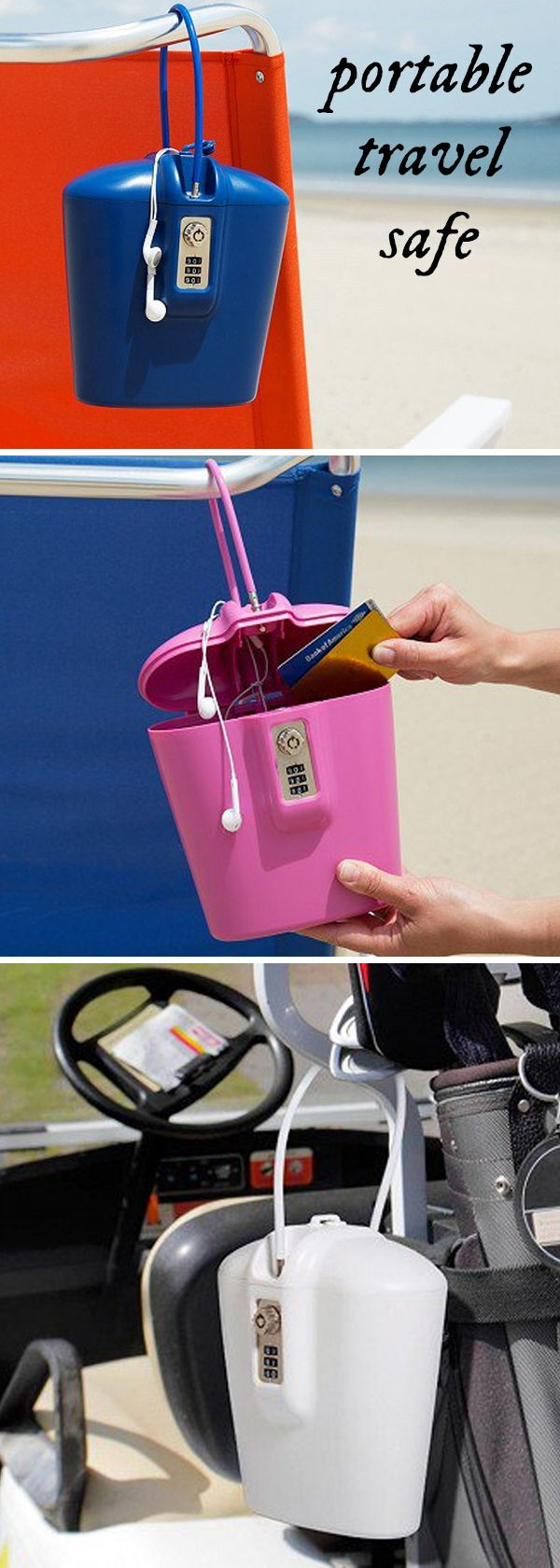 Protect your valuables at the beach, pool, park, gym, or home. Attach this travel safe to a chair, table, pole . . . anything that's tough—or impossible—to run off with. Great for dorm rooms and summer camp!