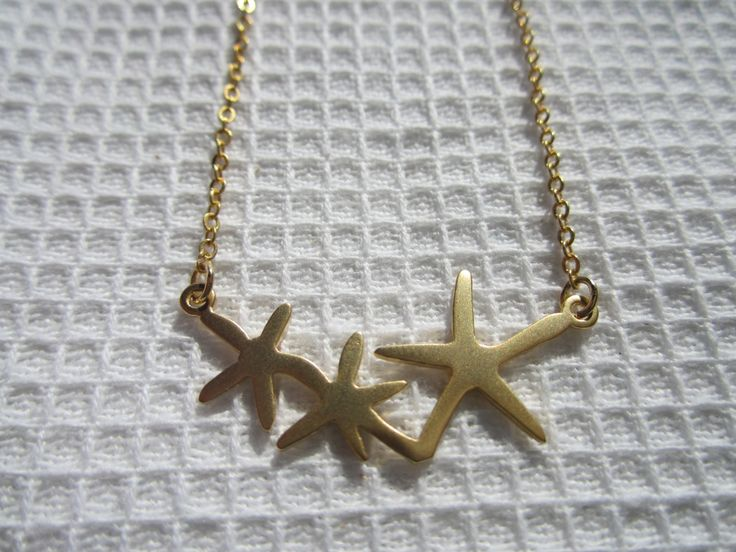 Starfish Gold necklace/ Birthday/ Love/ Bridal/ holiday/ Gift under 20 dollars, gold necklace, beach theme, starfish necklace by anandacollections on Etsy