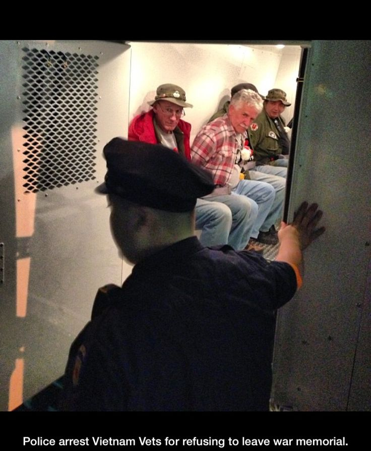 If this doesn't piss you off, your priorities are wrong. This is what our president is doing. Makes my heart hurt for this vets who just wanna be in the memorial, but instead of getting praised for what they have done they get put In jail. Our president is a piece of shit.