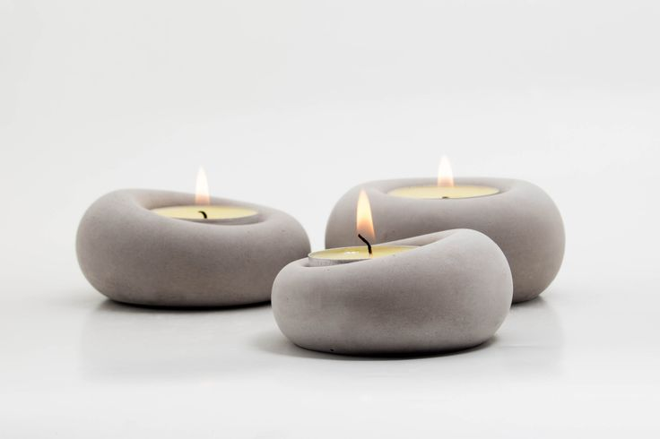 Set of 3 grey concrete tealight holders, Blub - by .ab concrete