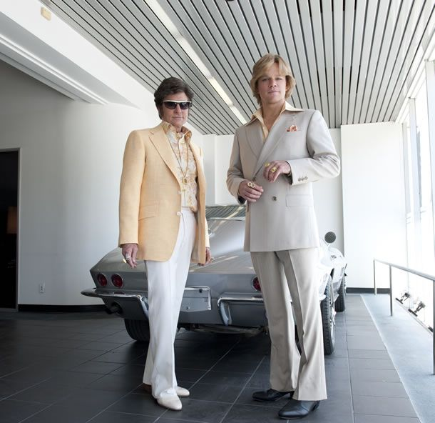 Still from Steven Soderbergh's next (and final) film set for release in 2013: the Liberace movie Behind the Candelabra.     That's Michael Douglas as Liberace and Matt Damon as his lover Scott Thorson.