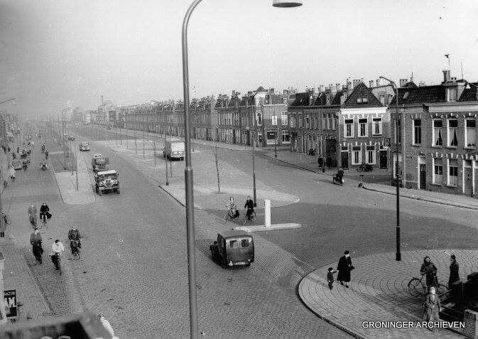 De Bedumerweg Groningen bij de Bankastraat in 1954     foto:serc.nl
