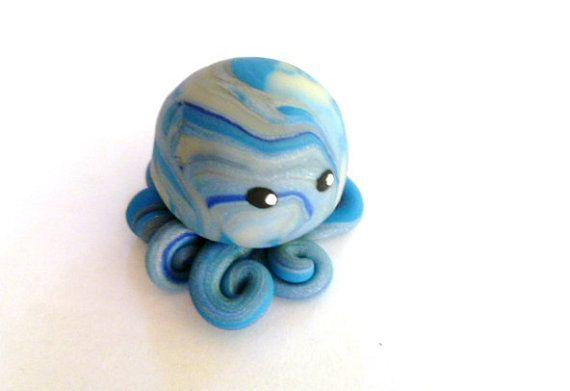 Awesome Little Octopus in French Blue Translucent by mulberrymoose, $8.00